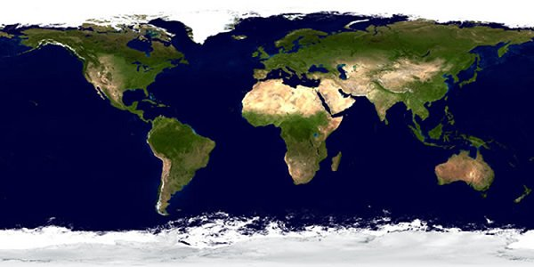 Map of the earth as seen from space